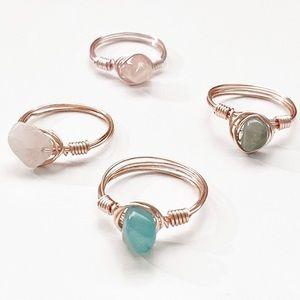 🤍3/$30 Handmade Custom Wire Wrap Crystal Rings
